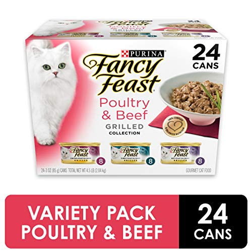 Purina Fancy Feast Gravy Wet Cat Food Variety Pack, Poultry & Beef Grilled Collection - (24) 3 oz. Cans (To Shred Food Like Cheese Into Small Pieces)
