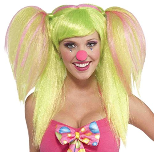 [Circus Sweetie Lollipop Lily Clown Wig Green Pink Costume Accessory Pigtails] (Circus Sweetie Wig)