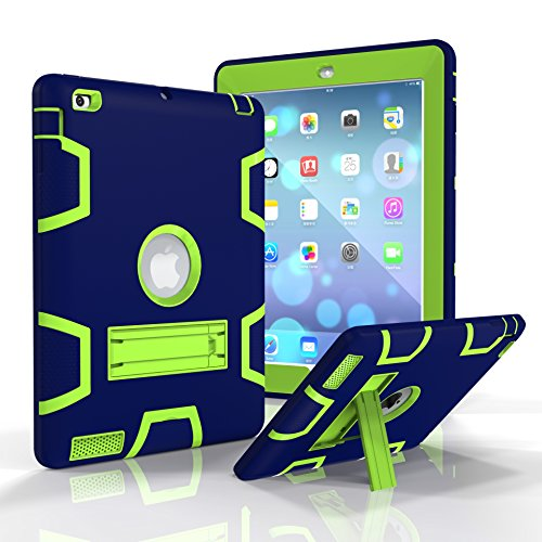 ge Three Layers PC&Silicon Armor Defender Heavy Duty Shock-Absorption Rugged Hybrid Full Body Protective Case with Kickstand for Apple iPad 2/iPad 3/iPad 4 ()