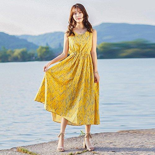 Jupe Longue MiGMV Coton Jupe Robes imprime Lin l't mi Vtements Yellow Femmes XL Longue pour Robe PPqSpAaw7