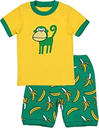 BOOPH Boys Pajamas 2 Picese Monkey Short Pajama Set 100% Cotton Sleepwear 2-7T