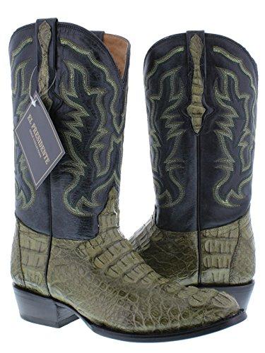 El Presidente - Men's Green Genuine Crocodile Hornback Leather Cowboy Boots Round Toe 13.5 EE (Cowboy Alligator Skin Boots)