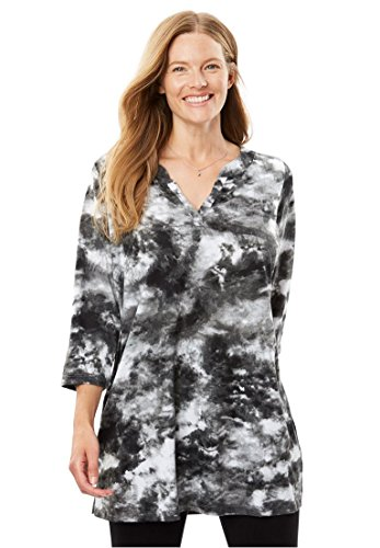 Women's Plus Size Tie-Dye Knit Tunic Top Black Tie Dye,2X