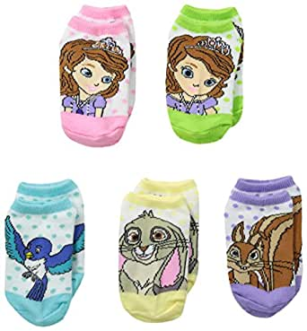 Sofia the First Little Girls'  5 Pack Dots No Show Socks, Multi-Colored, 5-6.5