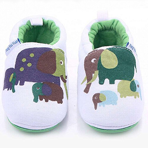 Lidiano Infant/Toddler Baby Non Slip Rubber Soft Sole Cartoon Walking Slip on Shoes for Home/Outdoors (5 M US Toddler, Elephant) - Image 2
