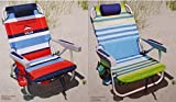 2 Tommy Bahama 2015 Backpack Cooler Chairs with Storage Pouch and Towel Bar (1 red striped and 1 green striped)