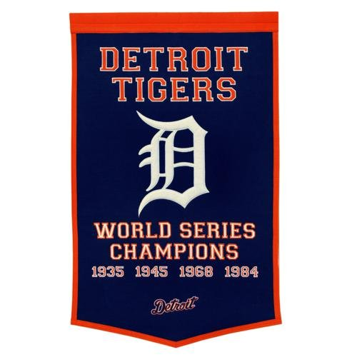 Detroit Tigers World Series Championship Dynasty Banner - with hanging rod