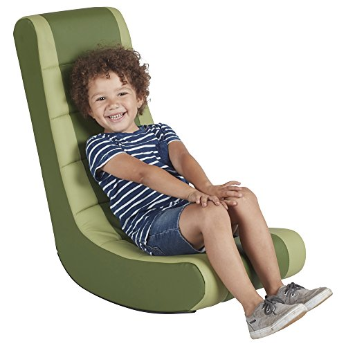 ECR4Kids SoftZone Kids Gaming Rocker - Soft Foam Chair for Movies, Reading or TV -  Hunter Green and Fern Green (Video Tv Rocker Chair)