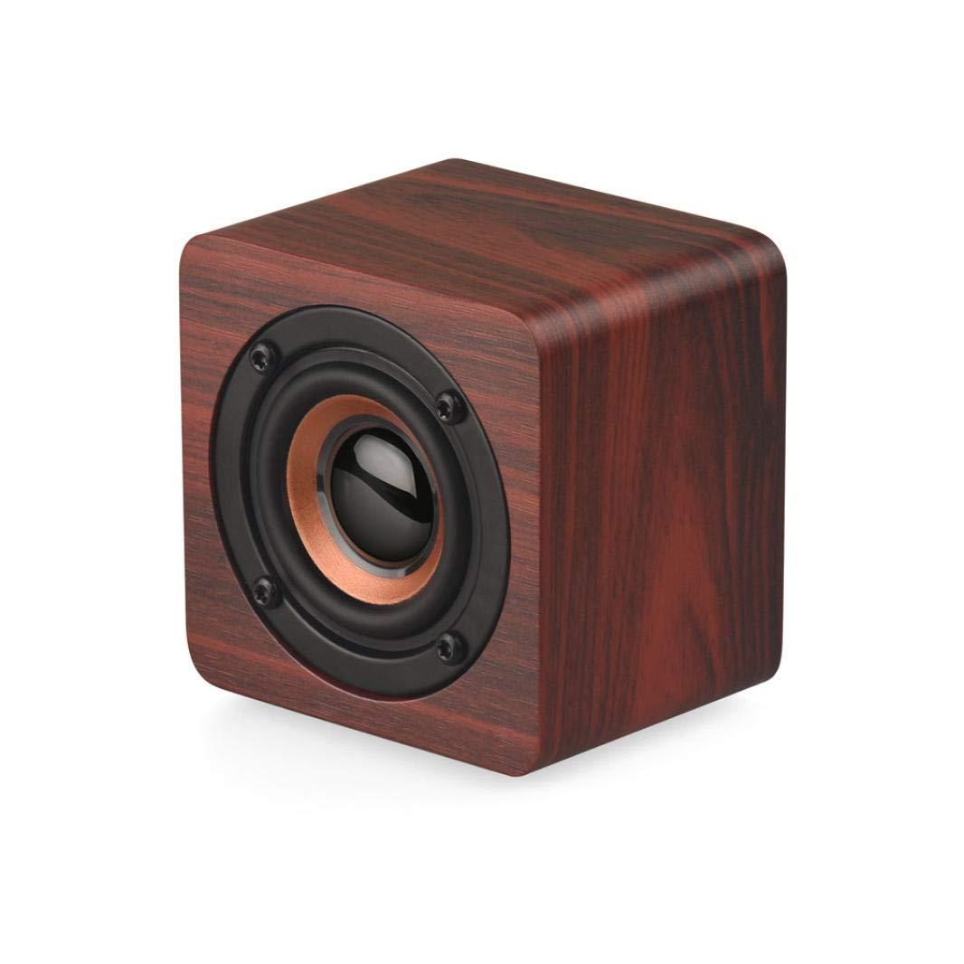 Speaker.Likero Portable Wooden Wireless 3D HiFi Stereo Retro Dual subwoofer Loud peaker (A)