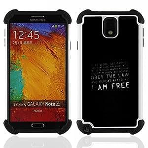 For Samsung Galaxy Note3 N9000 N9008V N9009 - Freedom Quote Society Prison Conspiracy /[Hybrid 3 en 1 Impacto resistente a prueba de golpes de protecci????n] de silicona y pl????stico Def/ - Super Marley