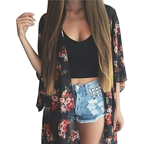 Fanala Summer Women Floral Chiffon Kimono Cardigan Robe Jacket Blouse Tops