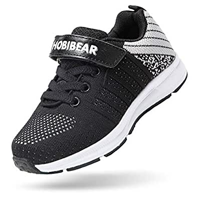 BEEDPAN Sneakers for Boys and Girls, Kids Running Lightweight Shoes - Athletic Tennis Shoe Comfort Mesh Breathable Black Size: 2 Little Kid