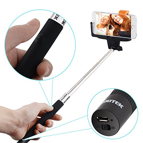 kootek bluetooth monopod selfie stick self portrait pole with remote shutter button for iphone. Black Bedroom Furniture Sets. Home Design Ideas