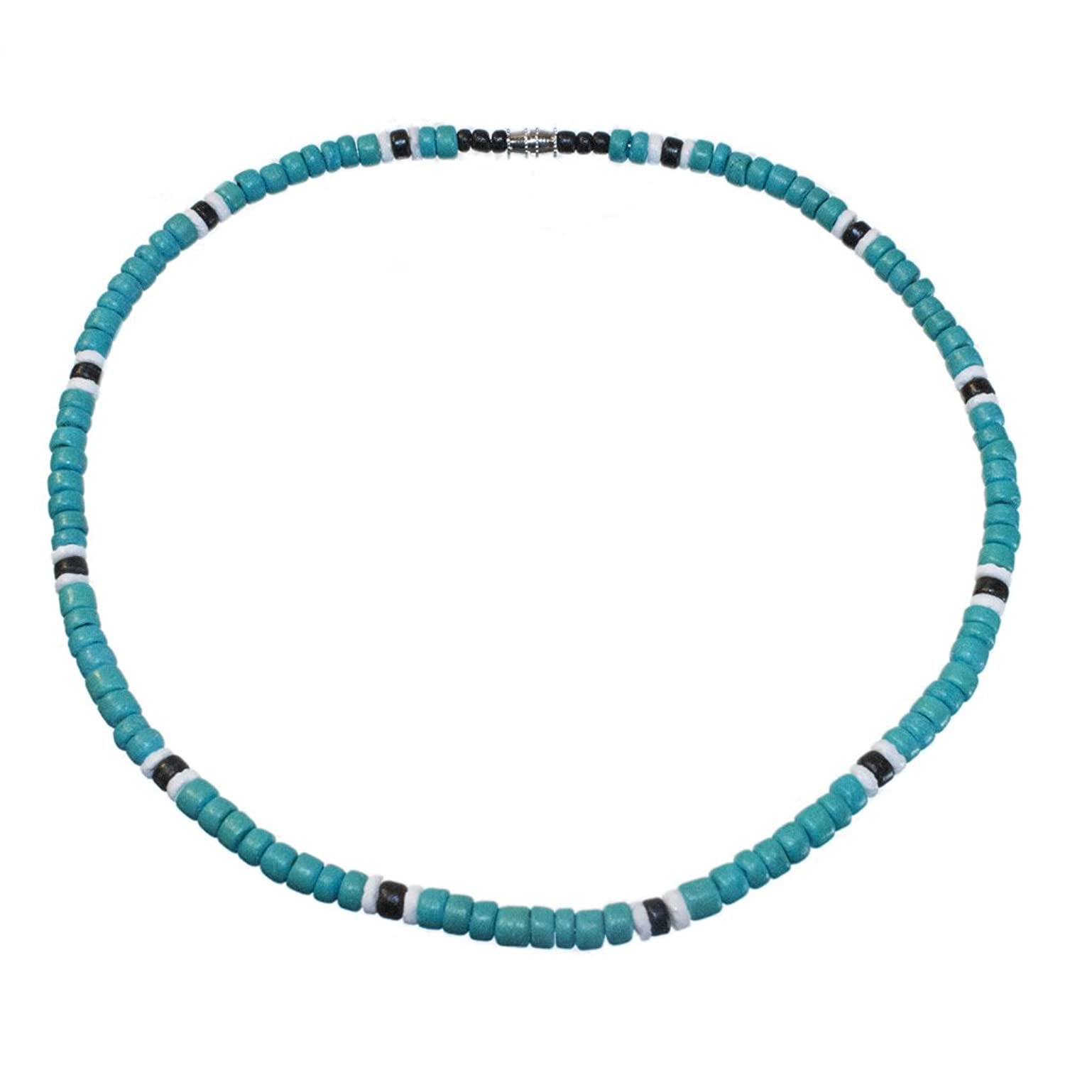 Aqua and Black Coco Bead Hawaiian Surfer Necklace with White Puka Shell Accents, Barrel Lock