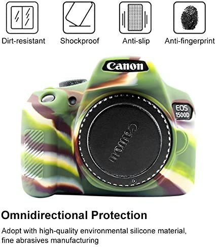 1500D Camouflage MEETBM ZIMO,Soft Silicone Protective Case for Canon EOS 1300D Color : Black