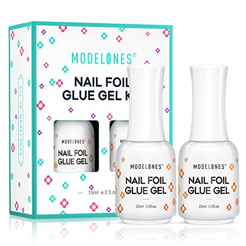 Modelones Nail Art Foil Glue Gel for Foil Stickers Nail Transfer Tips Manicure Art DIY 15ML 2 Bottles UV LED Lamp Required Soak Off With Gift Box