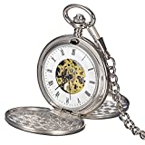 Skeleton Pocket Watch Mechanical Movement Hand Wind Roman Dial Full Hunter Silver Tone Engravable