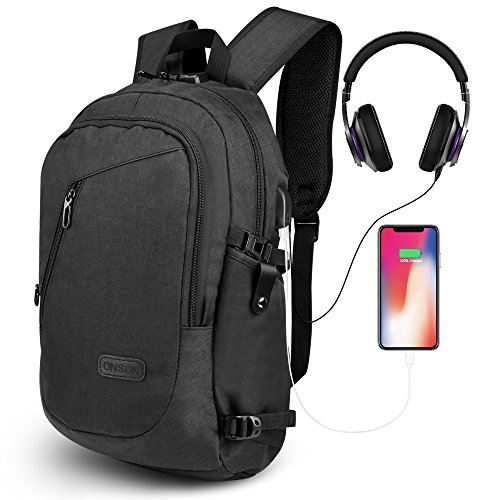 ONSON Anti Theft Laptop Backpack, Business Water Resistant Backpack Travel Bag with USB Charging Port & Headphone interface for Men&Women College Student,Fits 15.6 Inch Laptop & Notebook - Black (Notebook Combination Lock Cable)