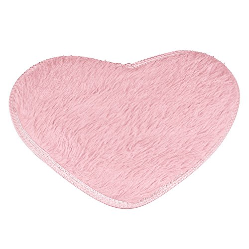 Bedroom Door Mat , ZOMUSA 40 x 28cm Heart Shaped Non-slip Bathroom Carpet Fluffy Home Decor Rug Cushion Pads (Pink) (40 30 Pad X Cushion)