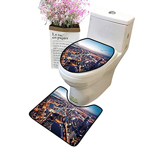 2 Piece Bathroom Mat Pedestal Rug Bath Mat a Melbourne at Night Victoria Australia Contour Toilet Mat and Toilet lid ()