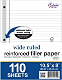 iScholar Reinforced Filler Paper, Wide Ruled, White, 110 Sheets, 8 x 10.5 Inches (83100)