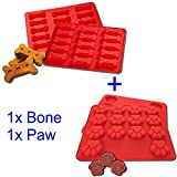 GYBest 2-pack Food Grade Large Mats Trays, Puppy Pets Dog Paws & Bones Silicone Baking Molds, Bake Dog Treats For Pets, Kids, Dog-lovers, Kitchen Tips