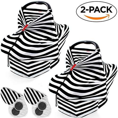 2 Pack Unique Multi Use Nursing Covers - with Peekaboo Window | Superior Quality Soft Cotton | Reliable As Breast Feeding Cover Ups, Car Seat Cover for Babies Or Carseat Canopy for Boys and Grils