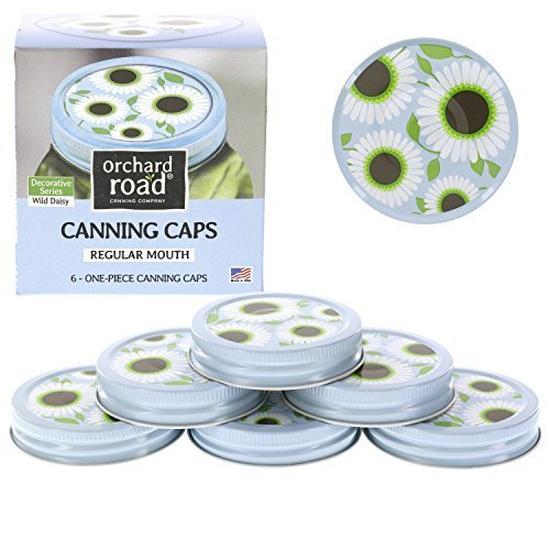 Mason Jar Lids - Decorative Canning Caps Fit Regular Mouth Mason Jars - Wild Daisy Design - Pack of 6