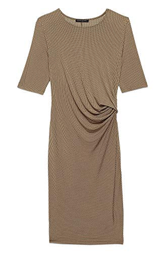 - Banana Republic Womens Polyester Short Sleeve Gathered Ruched Sheath Dress Brown Geometric Print (Large)