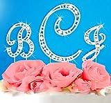 Swarovski Crystal Vintage Elegance Initial Letter Monogram Wedding Cake Topper