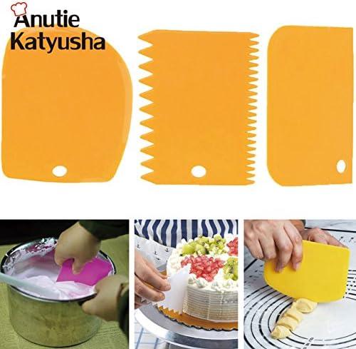 3Pcs Plastic Scraper Bakeware Dough Icing Fondant Cake Decorating Pastry Tools