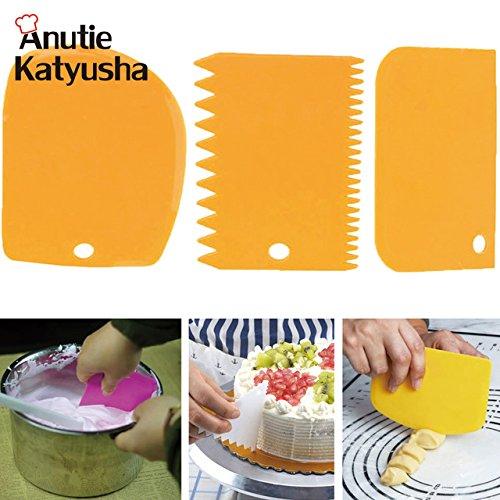 3pcs/セットプラスチックDoughナイフアイシングフォンダンScraperギザギザエッジケーキへらBaking PastryツールPlain Smoothケーキパドル   B07DNCGDY5