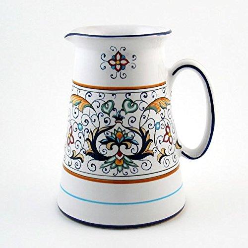 Hand Painted Italian Ceramic America Pitcher Rinascimento - Handmade in Deruta by Fima