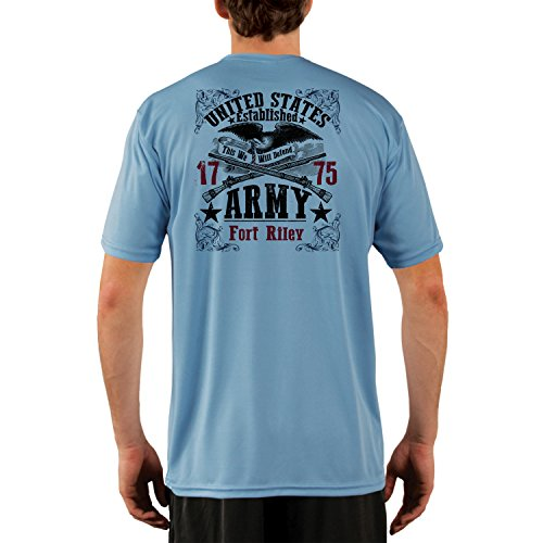 Fort Riley Army Base (Dead Or Alive Clothing U.S. Army Fort Riley Men's UPF 50+ Short Sleeve T-Shirt Medium Columbia Blue)