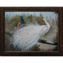 16X20 inch Gold Spot Framed Animal Canvas Art Repro White & Color Peacocks