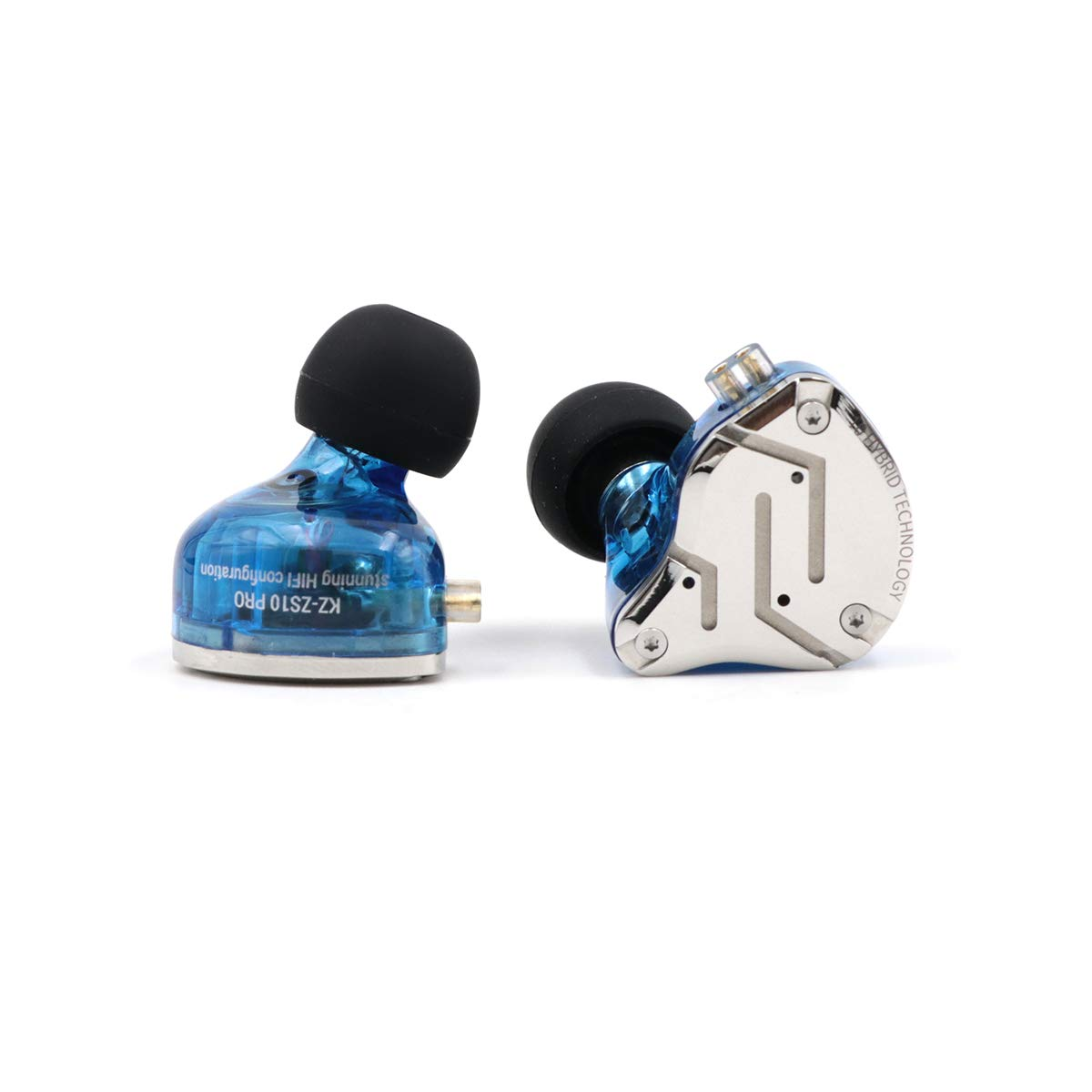KZ ZS10 Pro 4BA 1DD Hybrid in-Ear Earphone with High Resolution 075mm 2pin Connector Detachable Cable Without MIC, Blue