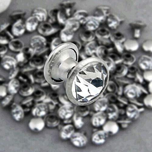 Calvas 8mm CZ Crystals Rhinestone Rivets Rapid Silver Nailhead Spots Studs DIY 200 Sets Per Lot Jewelry Making Findings