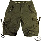 Mens Military Style Light Olive Cargo Shorts #A8s Size 36
