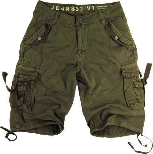 Mens Military Style Light Olive Cargo Shorts #A8s Size 36 by STONE TOUCH
