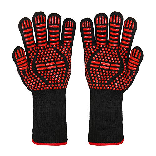 BBQ Grill Gloves, 1472°F Extreme Heat Resistant Non-slip Silicone Insulated Oven Mitts for Outdoor Cooking, Grilling Potholder, Kitchen, Smoker Baking, Barbecue, Fireplace, Welding, Cutting, 1 Pair