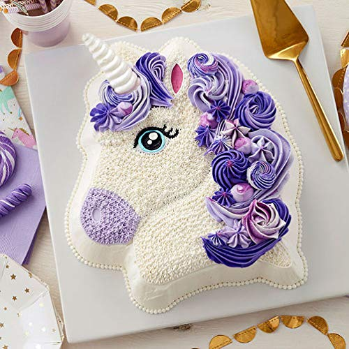 """Wilton 3-D Pony Cake Baking Pan, Makes Perfect Horse or Unicorn Party Cake for Birthdays, Race Day Parties and School Celebrations, Includes Decorating Instructions, Aluminum (10.5"""" x 12"""" x 2"""")"""