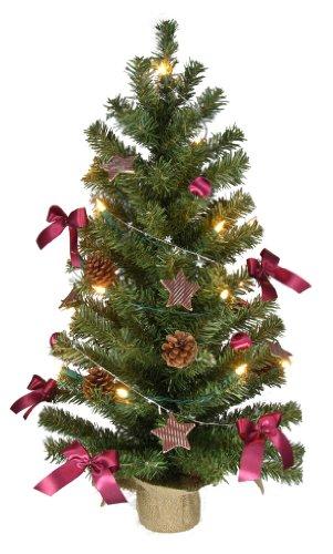 Weihnachtsbaum aus PVC, beleuchtet und dekoriert, H: 75 cm, 20 Lichter
