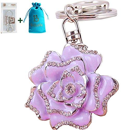 Bolbove Blossoming Rose Keychain Sparkling Flower Keyring Crystal Rhinestones Purse Pendant Handbag Charm (Purple)