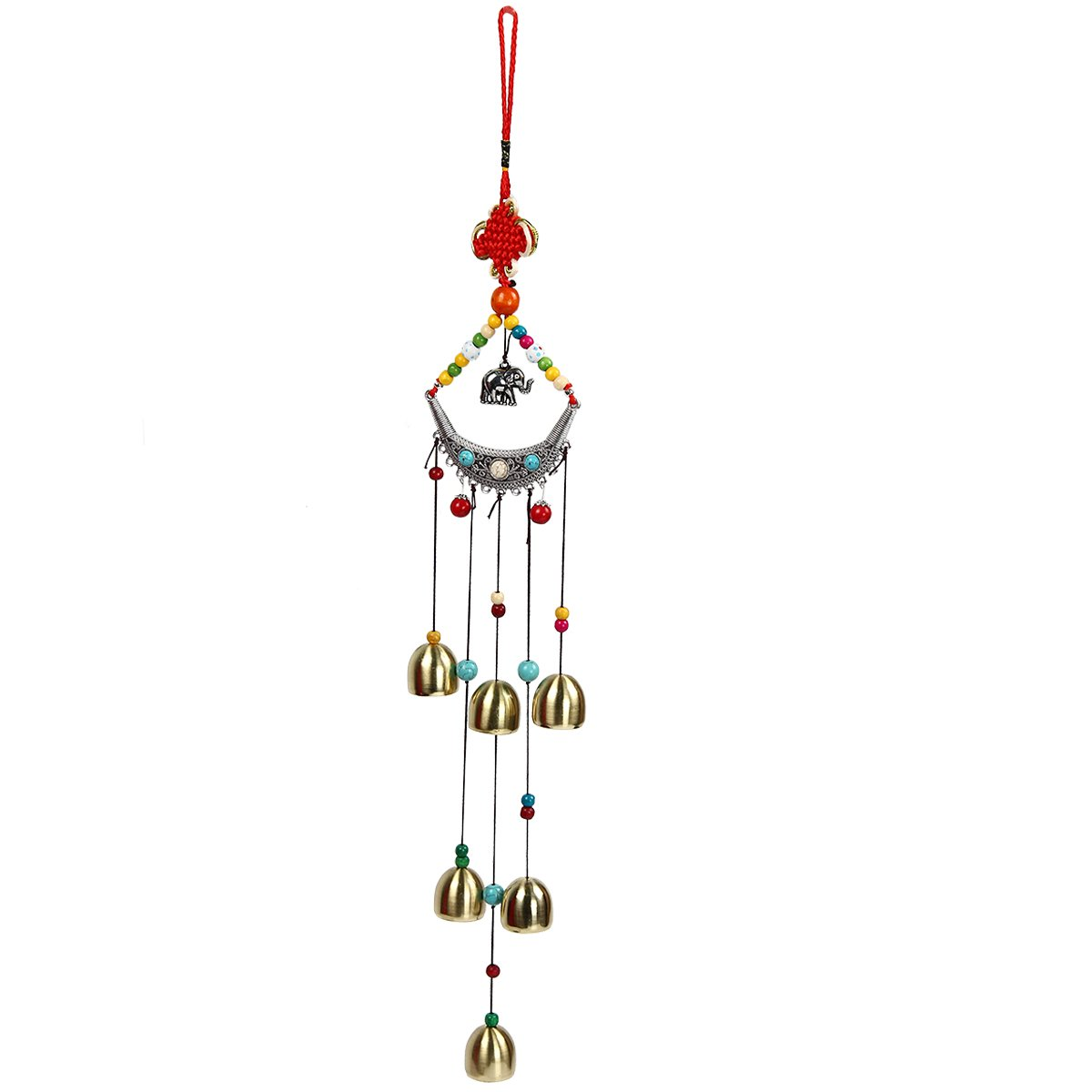 bouti1583 Tibetan Wind Chimes with 8 Bells Chinese Knot Mascot Luck Outdoor Decor Garden Patio 18.5''