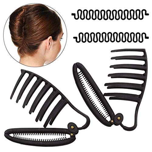 WJood 2 PCS Styling Volume Insets Hair Clip Boost Comb French Twist Maker Fast Volume Twist Hair Boost Comb Hair Up Maker Tool and 2PCS Hair Braiding Tool Magic DIY Hair Twist Styling (Black)