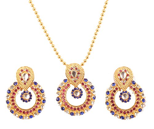 NEW! Touchstone Indian Bollywood Elite Mughal Kundan Look Faux Ruby And Faux Blue Sapphire Chand Baali Moon Bridal Designer Jewelry Pendant Set For Women In Gold -