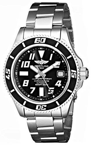 Breitling Men's A1736402/BA28SS Superocean Abyss Black Dial and Stainless Steel Band Watch