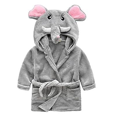 Kids Toddler Cute Animal Soft Fleece Hooded Plush Robe Kimono Bathrobe Children Pajamas Sleepwear Housecoat