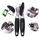 XELDA Manual Can Opener: Stainless Steel Lid Lifter With Sharp Blade, Smooth Edge, Soft Handles –Professional Kitchen Tool To Open Cans And Glass Bottles –Easy And Safe To Use