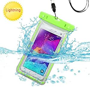Premium Waterproof Sports Swimming Waterproof Water Resistant Lightning Carrying Case Bag Pouch for Samsung Z3 (with Lanyard) (Green) + MYNETDEALS Mini Touch Screen Stylus